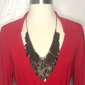 Jewelry - Cascading Leaf 🍁 Metal Statement Necklace